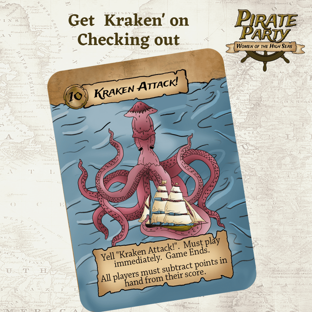 Kraken attack ends the card game pirate party women of the high seas from seaport games